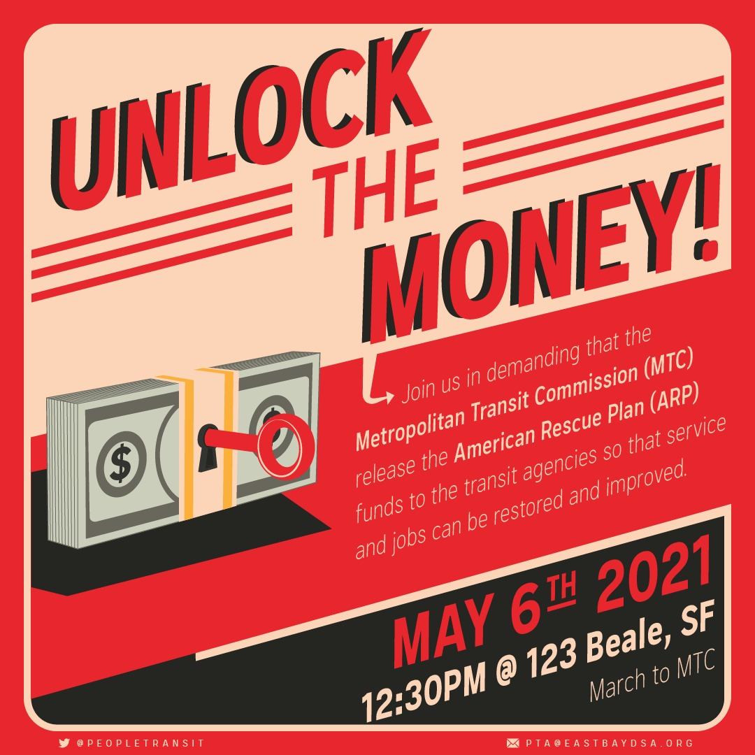 Poster of May 6th event, depicting unlocking a stack of bills